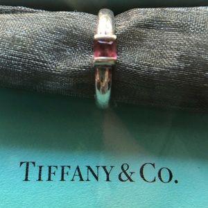 Tiffany & Co. pink gemstone silver ring